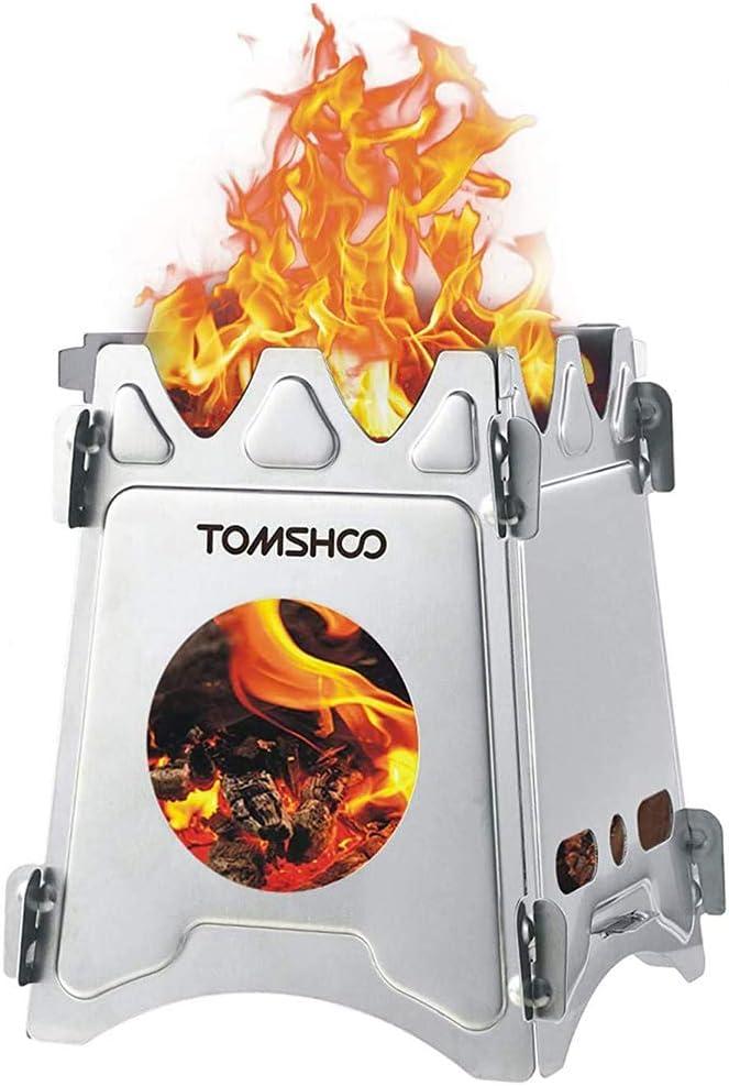 TOMSHOO Estufa de leña portátil plegable de acero inoxidable ligero para camping, supervivencia, cocina, picnic, caza