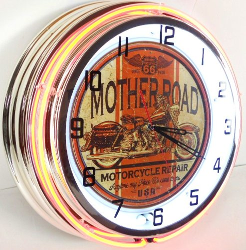 "ROUTE 66 Mother Road Motorcycle 18"" Double Neon Light Clo..."