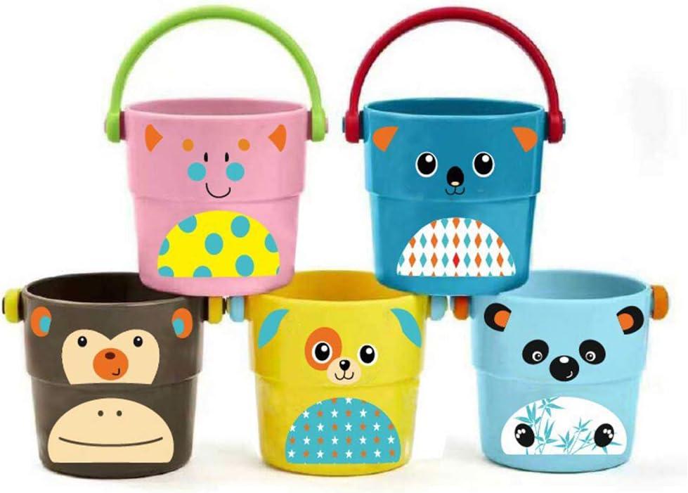 5 x mini juguetes del baño del bebé pequeño cubo, Natación color juguetes para el agua, dibujos animados patrón de animales que se escapa caldera, combinado superposición de Juguetes