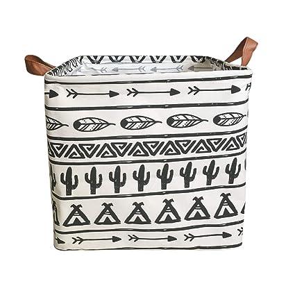 Ricye Square Storage Bin, Fabric Folding Storage Baskets With Handles,  Arrow Tribe Pattern Storage