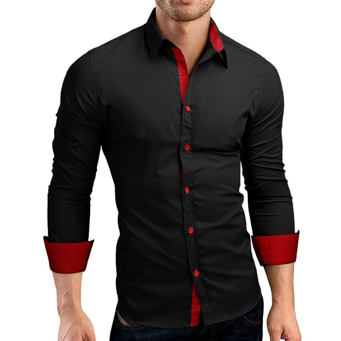 vermers Men Shirts Men's Autumn Casual Formal Solid Slim Fit Long Sleeve Dress Top Blouse(L, Black)