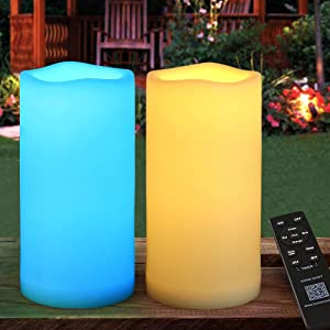 HOME MOST 2-Pack MULTICOLOR 4x8 Outdoor LED Pillar Candles with Timer and Remote - IP65 Waterproof Color Changing LED Pillar Candles - Battery Operated Flickering Flameless Pillar Candles Unscented