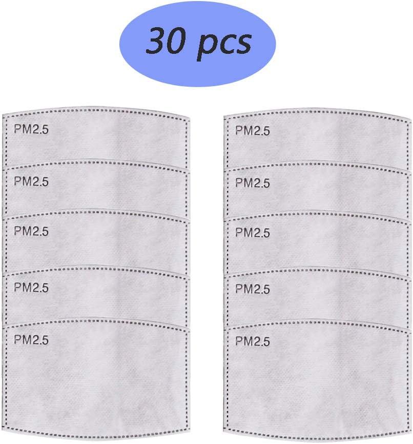30 Pcs Juego de filtros antipolvo para máscara PM 2,5, antiniebla, filtro de carbón activado para bicicleta, motocicleta, esquí, equitación al aire libre, gris