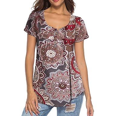 Camiseta de Manga Corta para Mujer Patrón de impresión Nuevas Mujeres Lentejuelas Cuello Redondo de Manga Corta Camiseta Camisetas Mujer: Amazon.es: Ropa y accesorios