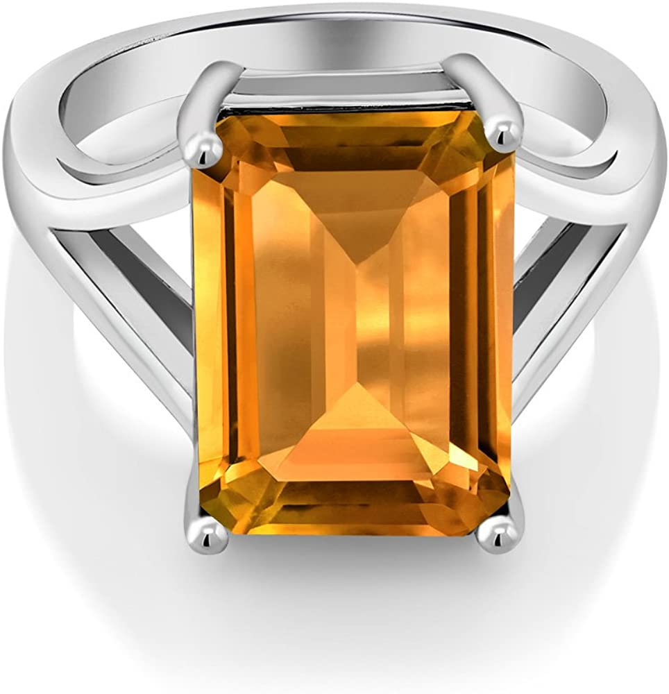 Gem Stone King 925 Sterling Silver Yellow Citrine Women's Solitaire Engagement Ring (8.20 Cttw Emerald Cut, Gemstone Birthstone, Available 5,6,7,8,9)