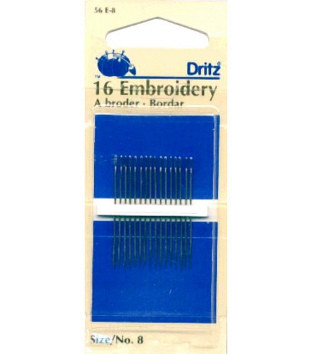 Dritz(R) Embroidery Hand Needles-Size 8 16/Pkg 27100283