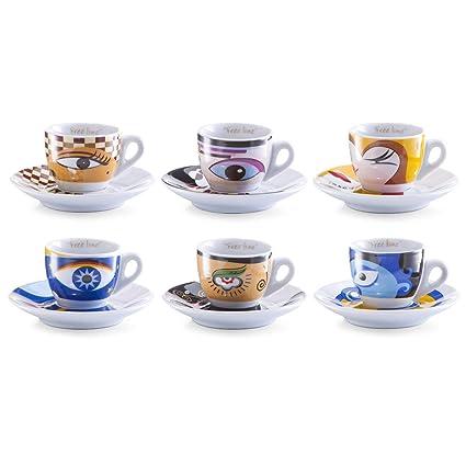 Zeller 26510 Servicio de Café Expreso, Magic Eyes, Porcelana, 32x13x8.5 cm
