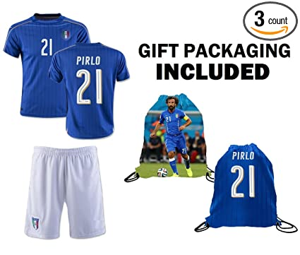 76484b61b Fan Kitbag Pirlo #21 Italy Youth Home/Away Soccer Jersey & Shorts Kids  Premium