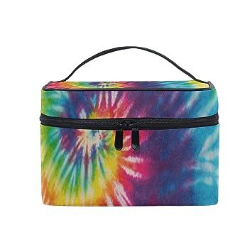 54bac3921350 Makeup Bag Abstract Swirl Rainbow Tie Dye Cosmetic Bag Portable ...