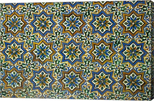 Moorish Mosaic Azulejos (Ceramic Tiles), Casa de Pilatos Palace, Sevilla, Spain by John & Lisa Merrill/Danita Delimont Canvas Art Wall Picture, Gallery Wrap, 30 x 20 inches