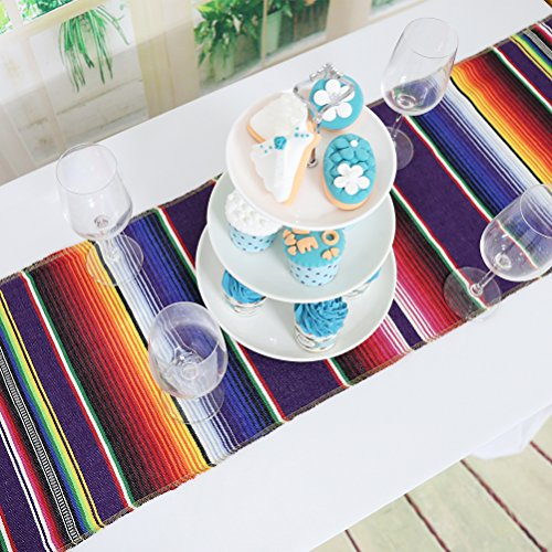 Koyal Pack of 6 14 x 84 inch Mexican Serape Table Runner for Mexican Party Wedding Decorations Fringe Cotton Table Runner by Koyal (Image #5)