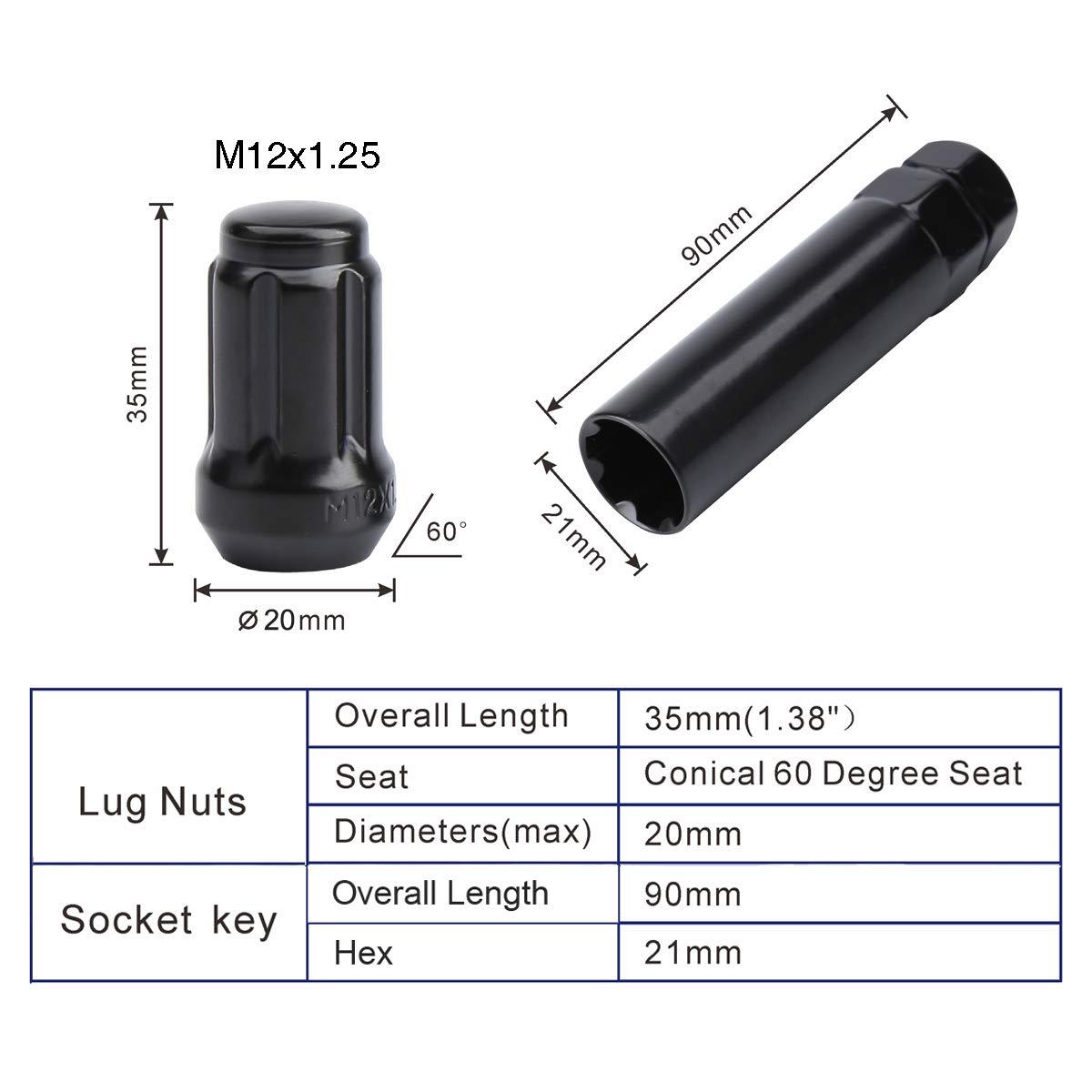 FIT MITSUBISHI I-MIEV LANCER MIRAGE SPLINE LUG NUT CONE SEAT 12x1.5 BLACK 16+KEY