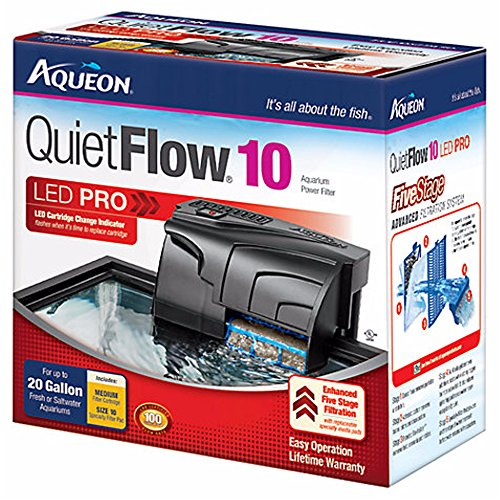 Aqueon QuietFlow LED PRO Aquarium Power Filters, Size 10-100GPH