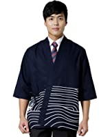 Sushi chef coat Japanese restaurant work uniforms for men blue
