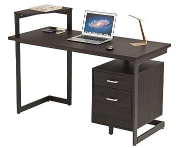 proht soporte para escritorio de oficina, Impresora de esquina en forma de L: ordenador/PC/portátil/mesa/estación de trabajo de escritorio, nogal marfil: ...
