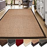 casa pura Area Rug | Sisal Non-Slip Rug for Living Room or Bedroom | Environmentally-Friendly 100% Natural Fiber Carpet | 2 Sizes | Cork - 4' x 6'