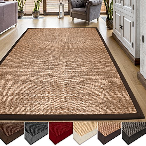 casa pura Area Rug | Sisal Non-Slip Rug for Living Room or Bedroom | Environmentally-Friendly 100% Natural Fiber Carpet | 2 Sizes | Cork - 6' x (Seagrass Sisal Rug)