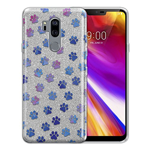 Dog Protector Case - WIRESTER Case Compatible with LG G7 ThinQ G710 6.1 inch, Shiny Sparkling Silver Bling Glitter TPU Protector Cover Case for LG G7 ThinQ - Blue Little Dog Paws
