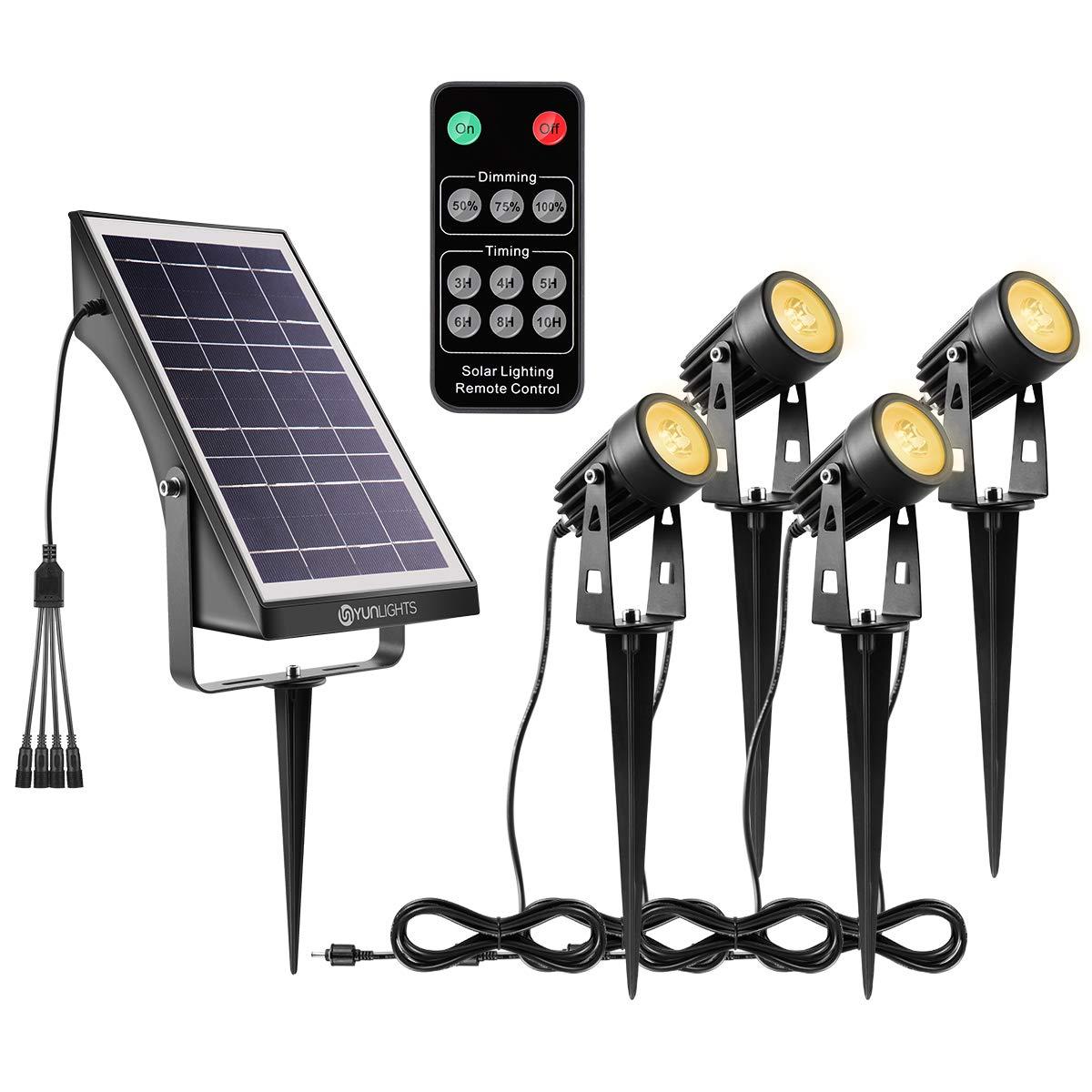 YUNLIGHTS Solar Landscape Lights, Low Voltage Outdoor Solar Spotlight Wireless Remote Control Waterproof Garden Lights for Patio, Yard, Pathway (Warm White, 4 Pack)