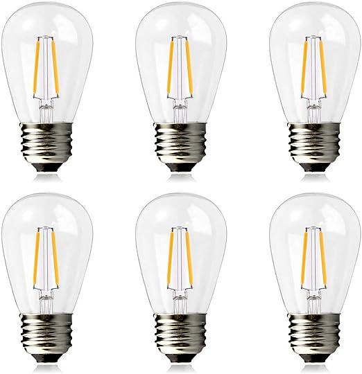 BRIMAX Bombilla LED Esférica E27 S14 para Luces de Cadena de Jardín al Aire Libre Impermeables, 2W (Equivalente a 20W), 200 lúmenes, Blanco Cálido 2700K, NO Regulable - 6 Unidade: Amazon.es: Iluminación