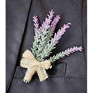 Yokoke Artificial Lavender Flowers Boutonniere Bouquet Corsage Wristlet 4 Pcs Nearly Natural Fake Purple Plant with Burlap Bow for for Wedding Church Party Home Decor 3