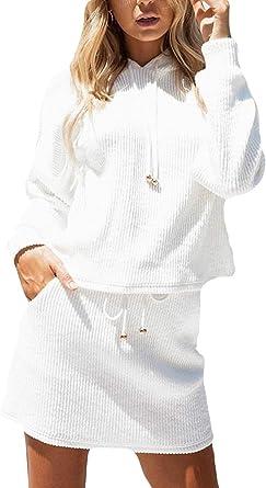 Mujer Sudadera con Capucha Camiseta Top Sólido Bodycon Mini Falda ...
