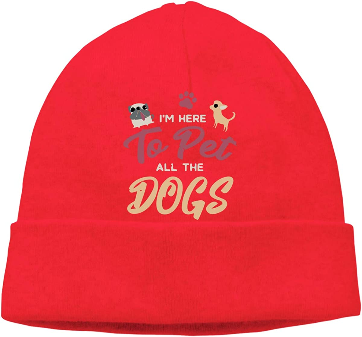 BF5Y3z/&MA Unisex Im Here to Pet All The Dogs Knitted Cap Comfortable Skiing Cap