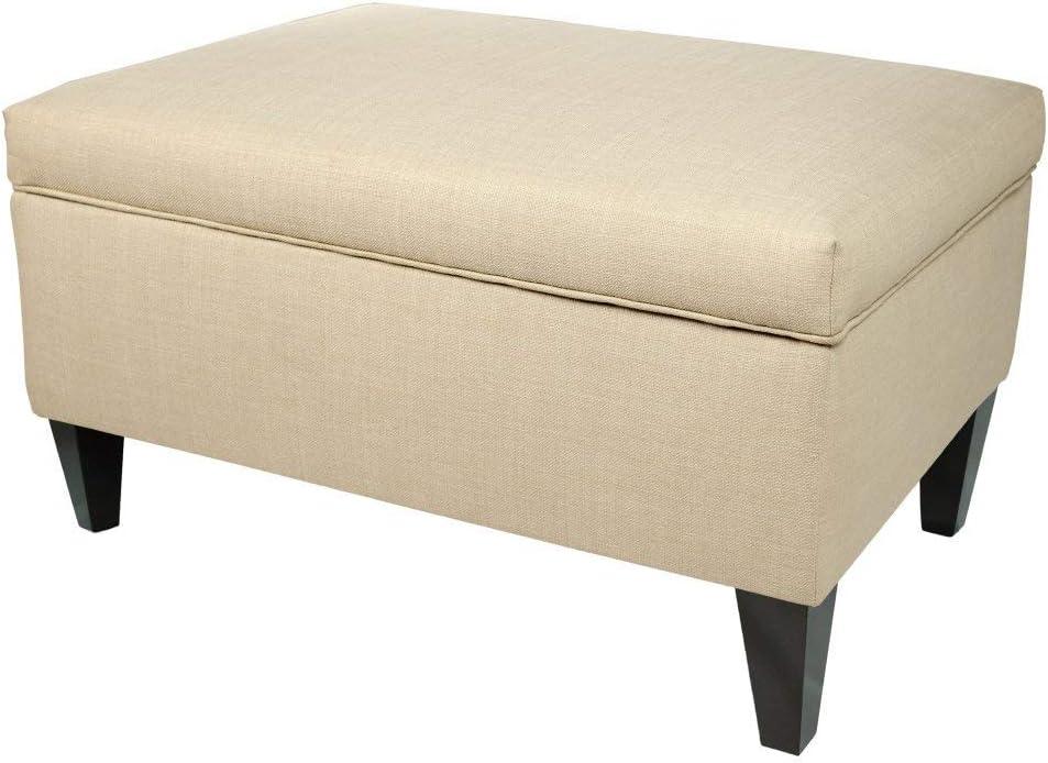 MJL Furniture Designs Brooklyn Collection Large Upholstered Living Room Lift Top Storage Ottoman, HJM100 Series, Beige
