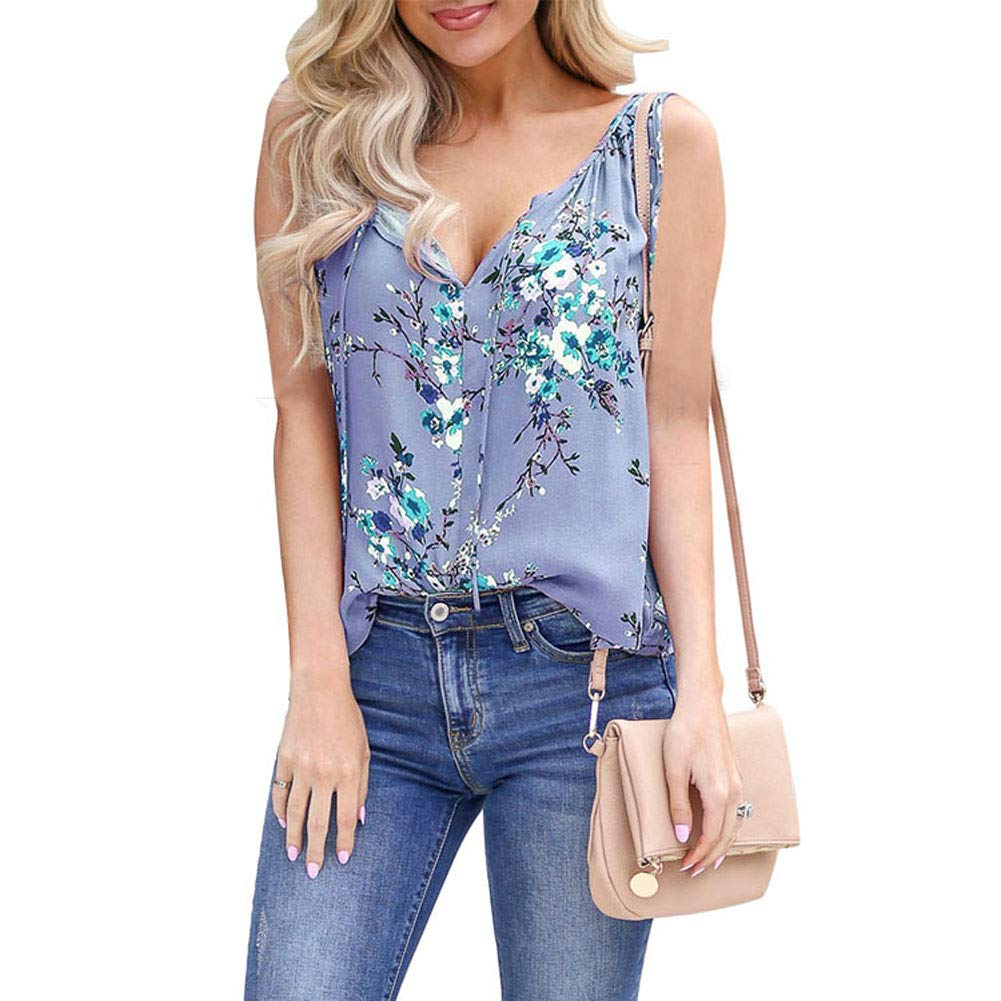 Womens Sleeveless Tops V Neck Shirt - Loose Fit Casual Floral Tops for Women Summer Blue