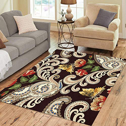 Rug Paisley Butterfly (Pinbeam Area Rug Beige Swirls Paisley Festoons Decorated Red and Yellow Home Decor Floor Rug 5' x 7' Carpet)