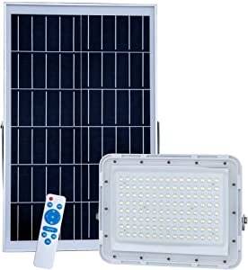 DOOK 300W Led Solar Flood Lights Outdoor Street Light,120 LEDs 22000 Lumens Waterproof IP67 with Remote Control Security Lighting for Yard,Garden,Gutter,Swimming Pool,Pathway,Basketball Court,Arena