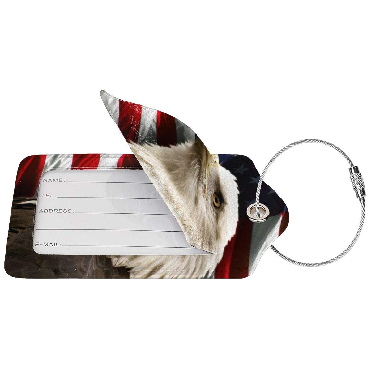 Bald Eagle American Flag Luggage Tag Label Travel Bag Label With Privacy Cover Luggage Tag Leather Personalized Suitcase Tag Travel Accessories