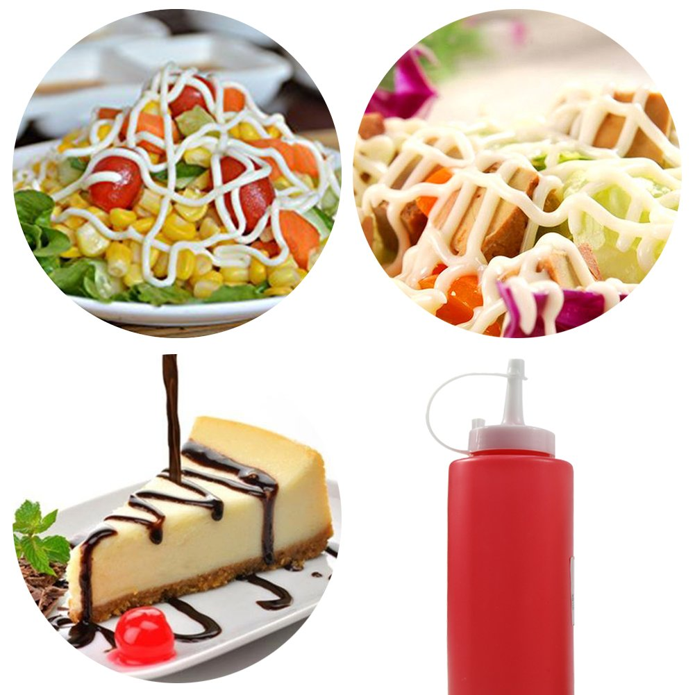 T-MEKA 250 ml Squeeze Sauce Bottle, Best Dispensers for Home & Restaurant Ketchup, Mustard, Mayo, Dressings, Olive Oil, BBQ Sauce, Salad (Random Color) by T-MEKA (Image #4)