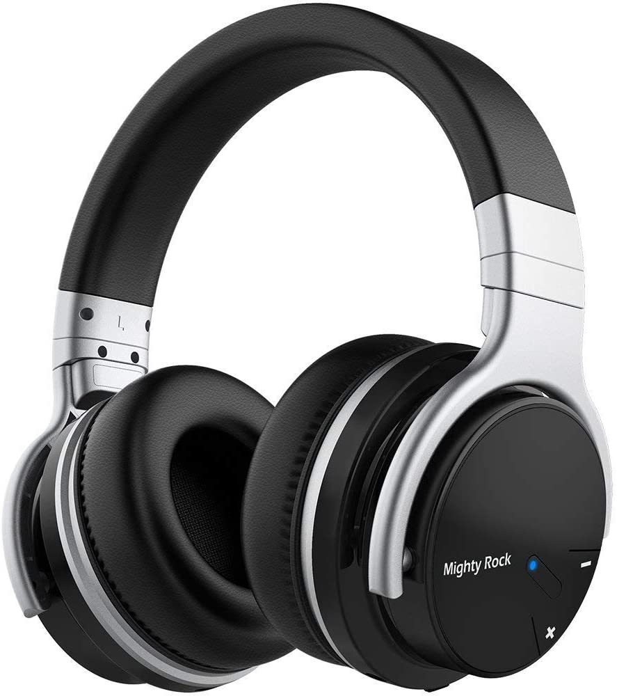 Meidong E7C Active Noise Cancelling Headphones Bluetooth Headphones Over Ear Wireless Headphones with Microphone Hi-Fi Deep Bass Stereo Sound and 30H Playtime for Travel Work TV iPhone