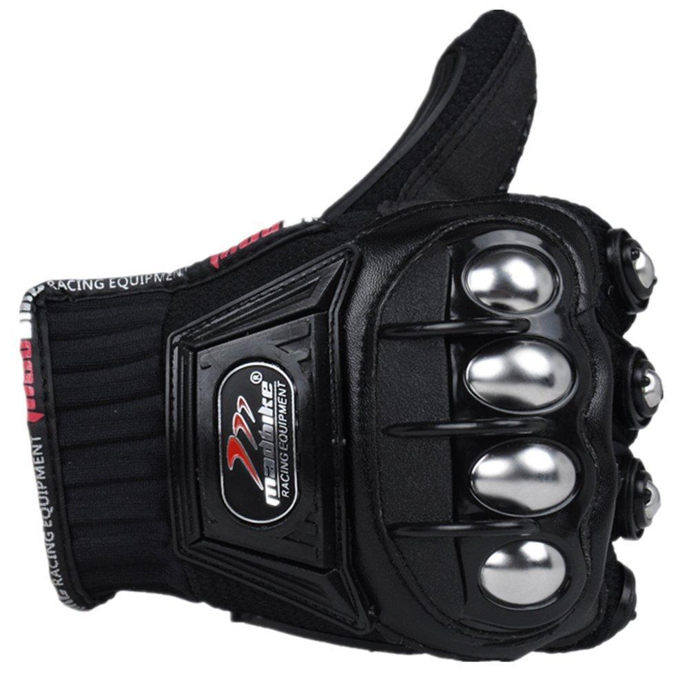 oubaiya Steel Outdoor Reinforced Brass Knuckle Motorcycle Motorbike Powersports Racing Textile Safety Gloves (Black, XX-Large) by oubaiya (Image #5)