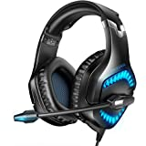 RUNMUS Gaming Headset for PS4, Xbox One, Over Ear Headphones with Noise Canceling Mic & LED Light, Gaming Headphones with 50mm Drivers & Surround Sound, Compatible with Xbox One, PS4, Switch, PC
