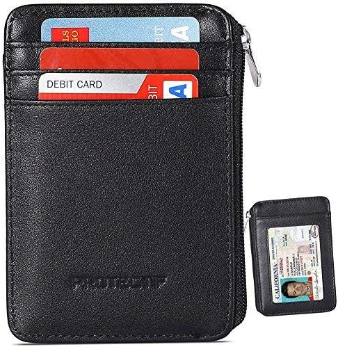 kinzd Leather RFID Blocking Strong Magnet Thin Leather Front Pocket Wallet