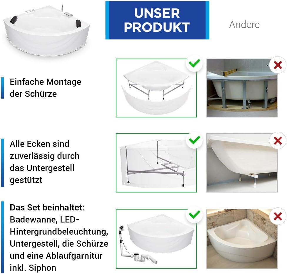 LED Eckbadewanne 150 x 150 cm aus Acryl mit stabilem Stahl-Untergestell Acryl-Wannensch/ürze und Ab-/Überlaufgarnitur Modell Freiburg