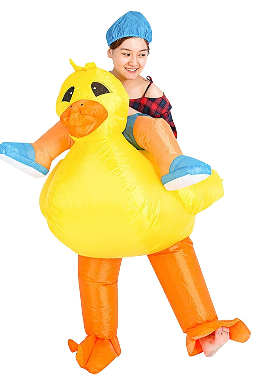 Inflatable Rider Costume Fancy Dress Yellow Duck Duckie Quacker Animal Funny Suit Mount