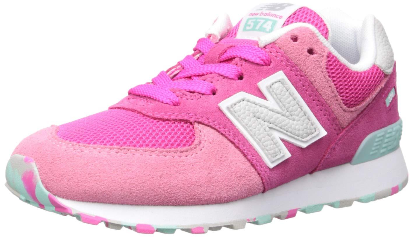 New Balance Girls' Iconic 574 Sneaker, Peony/Peony/Peony Glo, 9 W US Toddler