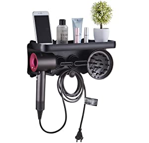 Magik Magnetic Supersonic Hair Dryer Accessories Metal Wall Mount Holder Hanger for Dyson and Other Hair Dryers Bathroom Toothbrush Makeup Cosmetic Shelf Rack Caddy Storage Organizer (Large, Black)