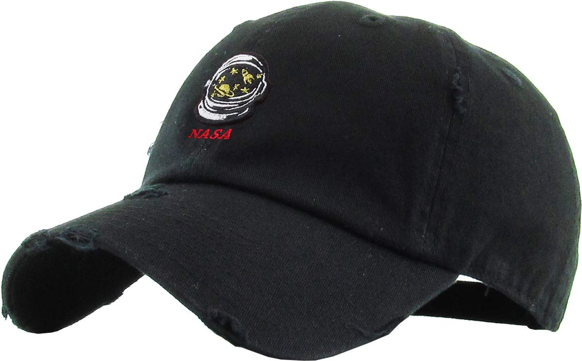 KBSV-150V BLK NASA Astronaut Head Dad Hat Embroidered Cotton Baseball Cap Adjustable