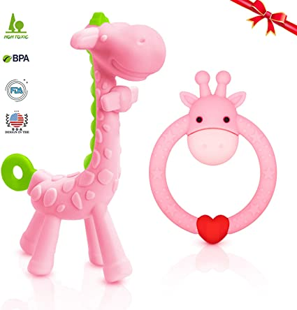 BPA free Baby Teether with Rattle Soft Bite Teether Teething Soothing 0m