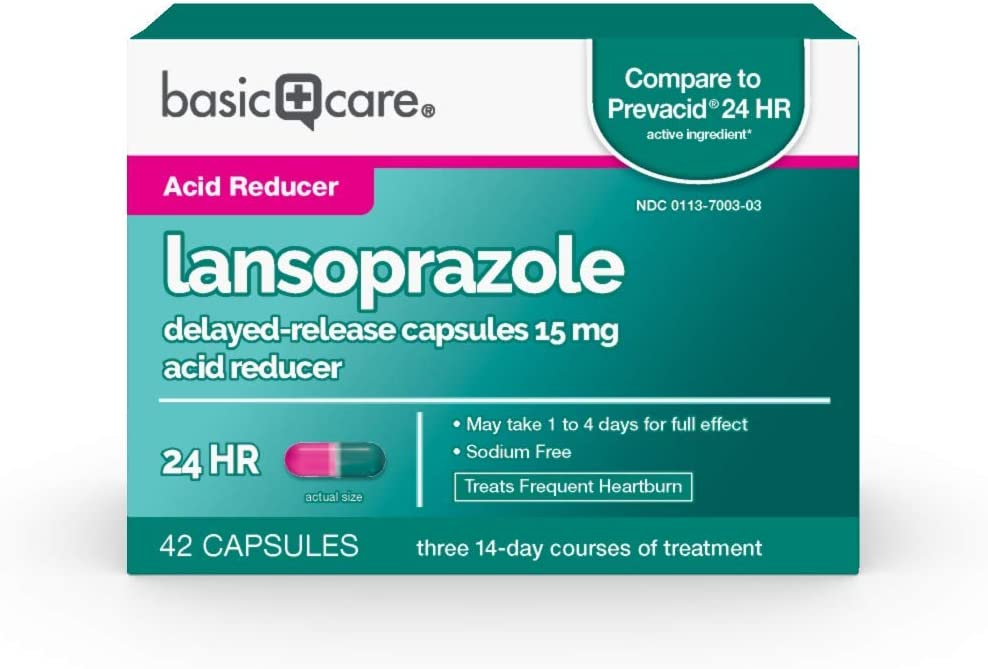 Amazon Basic Care Lansoprazole Delayed Release Capsules, 15 mg, Treats Frequent Heartburn, 42 Count