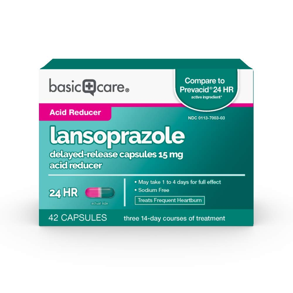 Basic Care Lansoprazole Delayed Release Capsules, 15 Mg, 42Count by Basic Care