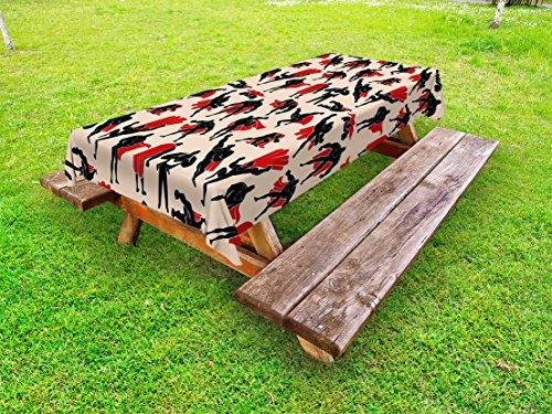 Lunarable Superhero Outdoor Tablecloth, Cartoon Super Man in Cape Muscular Power Hero Action Fiction Gesture Design, Decorative Washable Picnic Table Cloth, 58 X 120 Inches, Peach Black Red -