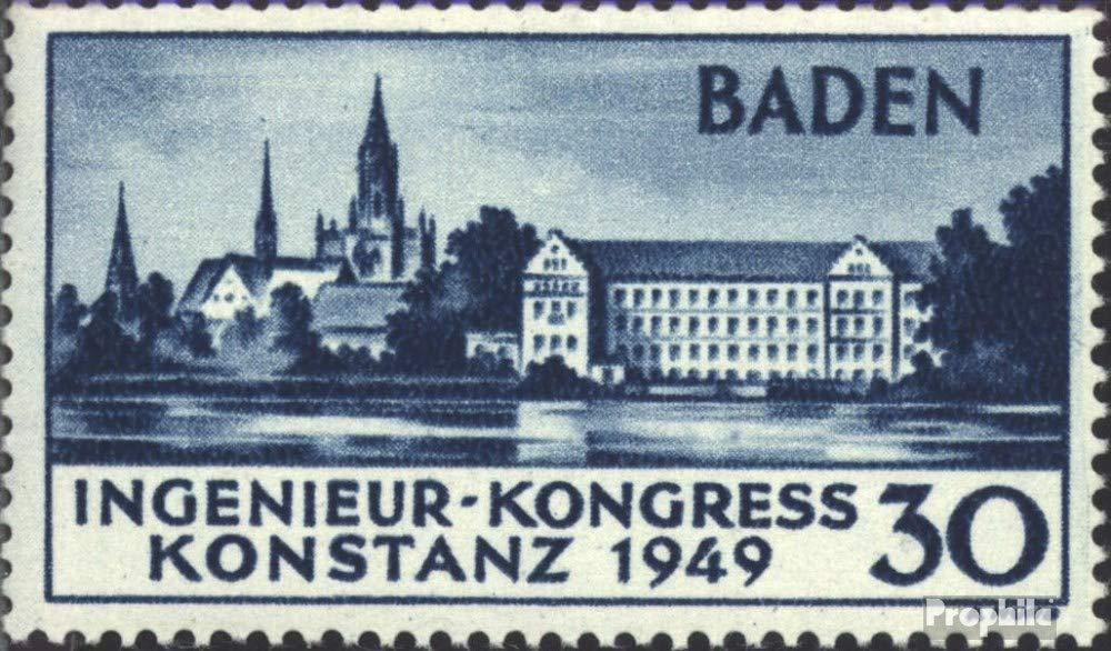 Prophila Collection Franz. Zone-Baden 46II (kompl.Ausg.) 2. Auflage geprüft mit Attest 1949 Konstanz (Briefmarken für Sammler)