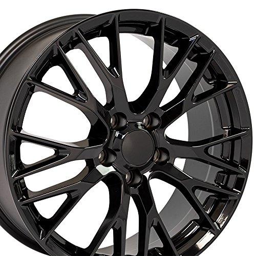 OE Wheels 19 Inch Fits Chevy Corvette Camaro Pontiac TransAm C7 Z06 Style CV22C 19x8.5 Rims Gloss Black SET