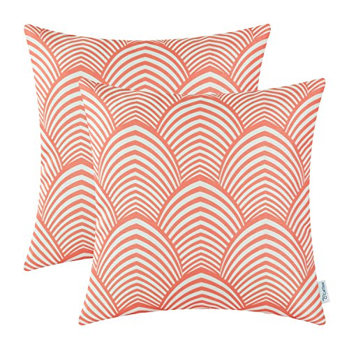Pack of 2 CaliTime Cushion Covers Throw Pillow Cases Shells, Modern Petaloid Waves, 18 X 18 Inches, Coral Pink