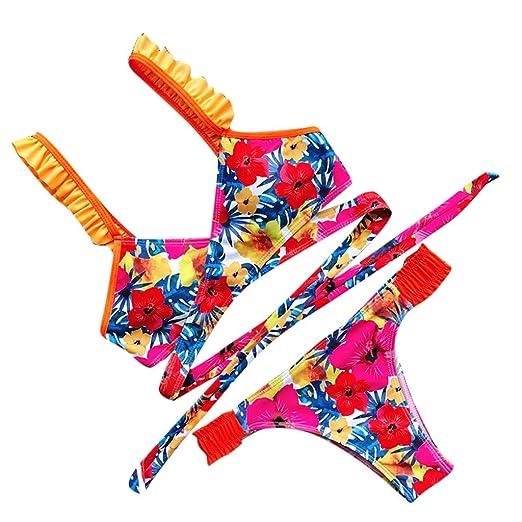 03db717a7e7c Amazon.com: AMSKY Beachwear for Women Coverup,Women Bikini Set Swimwear  Push-Up Padded Ruffles Print Bra Swimsuit Beachwear,Pants,Hot Pink,S:  Clothing